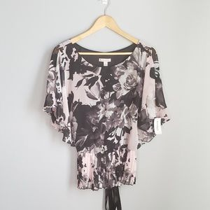 Dress Barn pink,black, and gray floral top